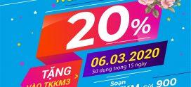 Vinaphone khuyến mãi ngày vàng 6/3/2020 tặng 20% giá trị thẻ nạp