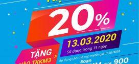 Vinaphone khuyến mãi ngày 13/3/2020 tặng 20% giá trị thẻ nạp mệnh giá từ 50.000đ