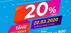 Vinaphone khuyến mãi ngày vàng 20/3/2020 tặng 20% giá trị thẻ nạp