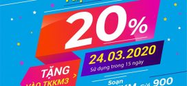 Khuyến mãi Vinaphone ngày 24/3/2020 tặng 20% giá trị thẻ nạp