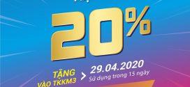 Vinaphone khuyến mãi ngày 29/4/2020 tặng 20% giá trị  thẻ nạp cục bộ