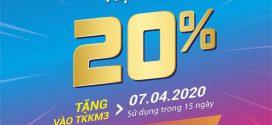 Vinaphone khuyến mãi ngày 7/4/2020 tặng 20% giá trị thẻ nạp