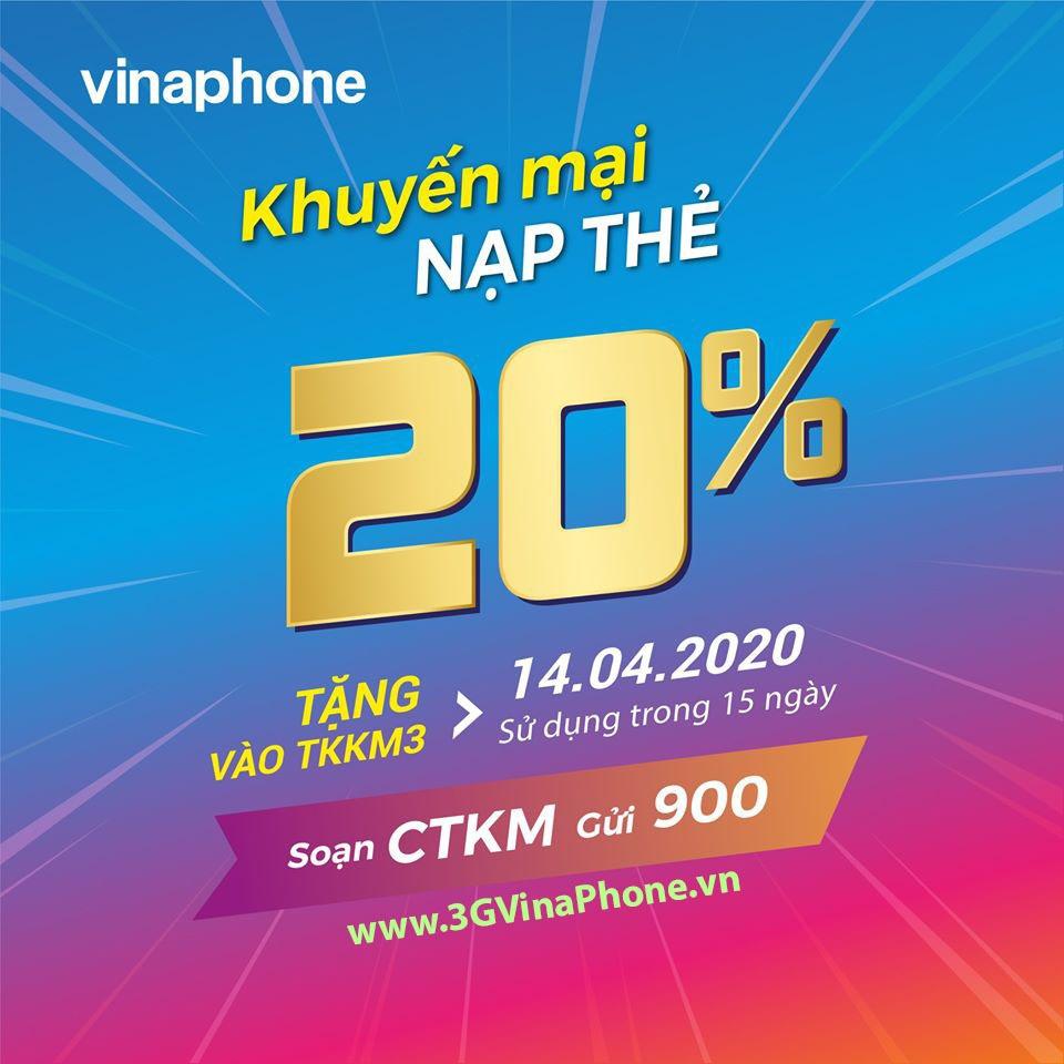 Vinaphone khuyến mãi ngày 14.4.2020 tặng 20% giá trị thẻ nạp thử 3 vui vẻ