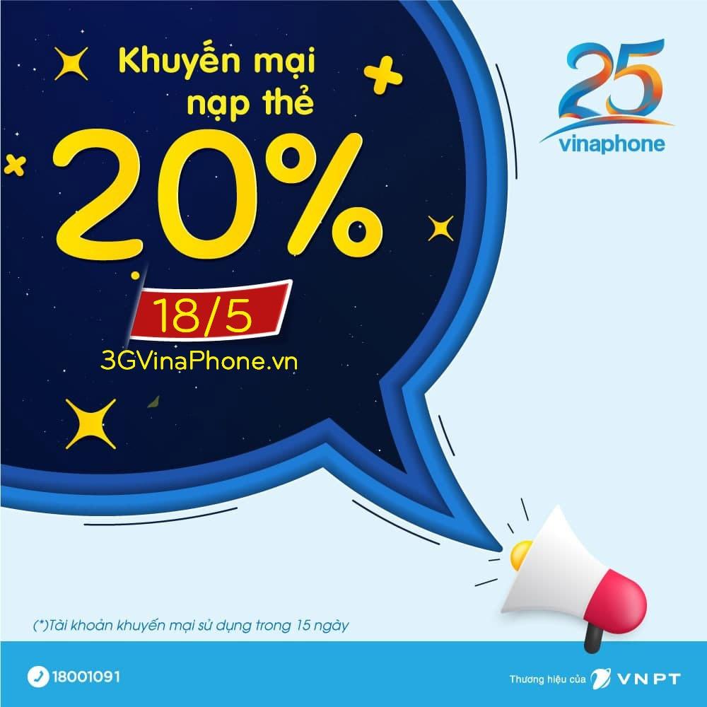Vinaphone khuyến mãi ngày 18/5/2021 tặng 20% giá trị thẻ nạp thử 3 vui vẻ