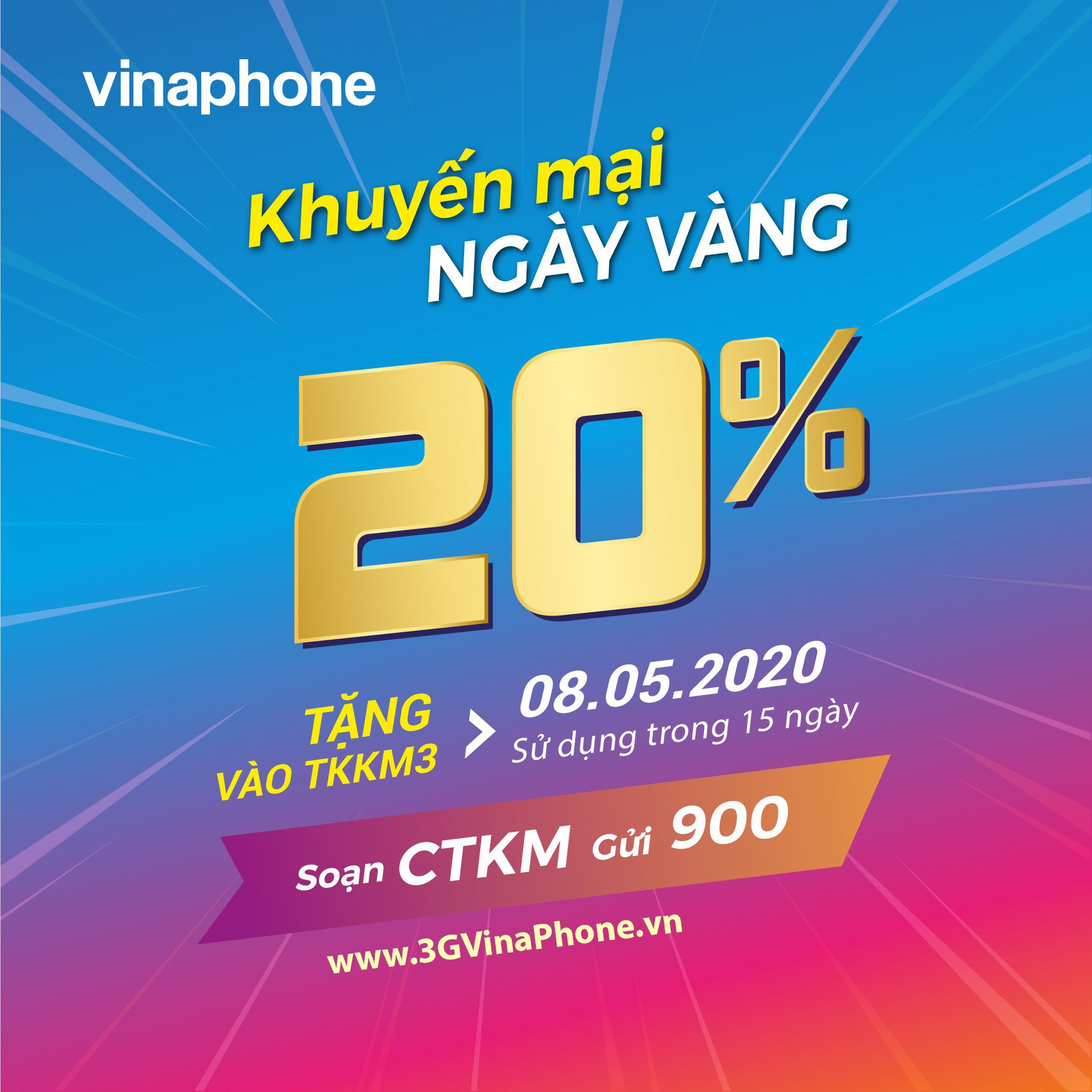 Vinaphone khuyến mãi ngày vàng 8/5/2020 tặng 20% giá trị thẻ nạp
