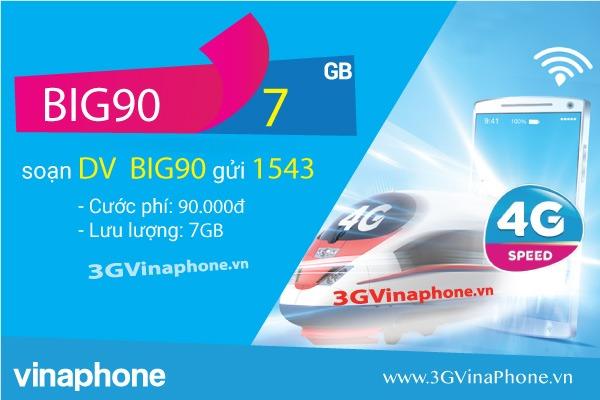 Cách đăng ký gói cước BIG90 Vinaphone nhận 7Gb data 3G 4G 5G