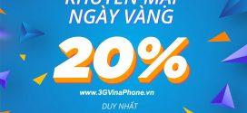 Vinaphone khuyến mãi ngày vàng 7/8/2020 tặng 20% giá trị thẻ nạp