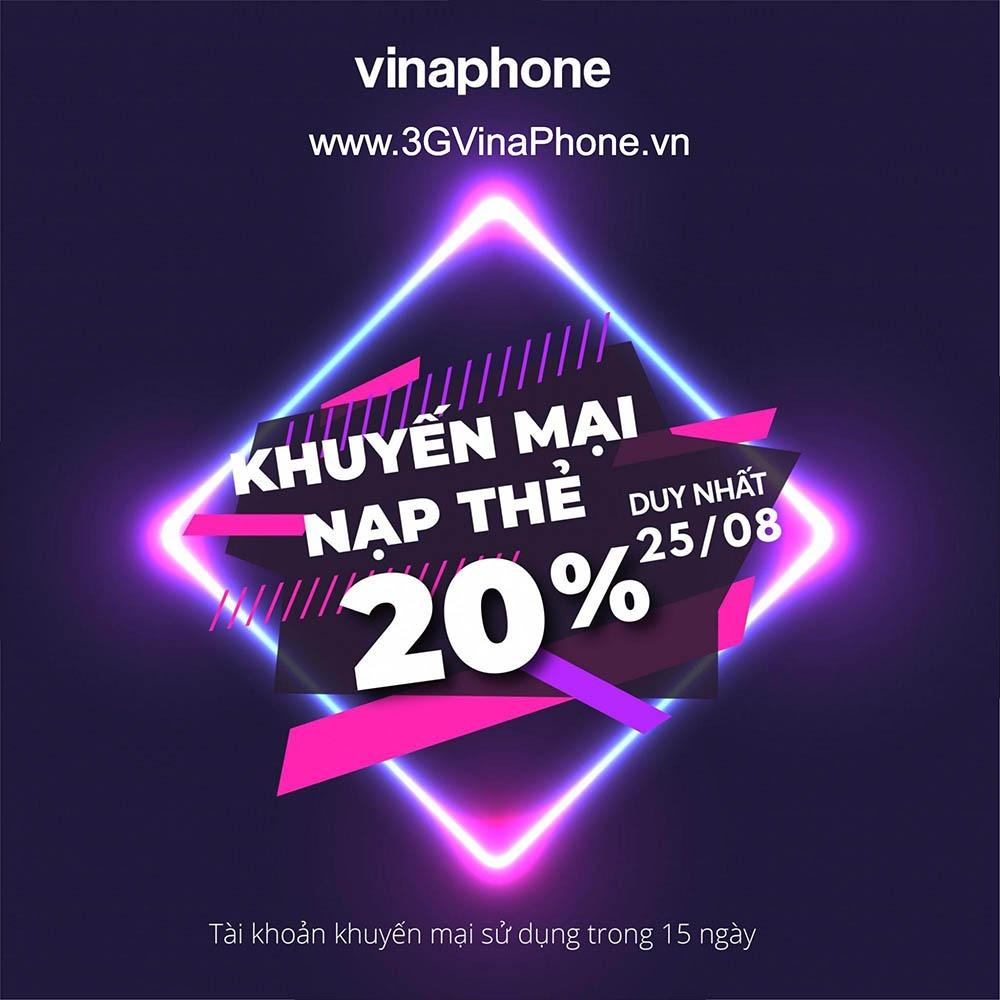 Vinaphone khuyến mãi ngày 25/8/2020 tặng  20% giá trị thẻ nạp cục bộ