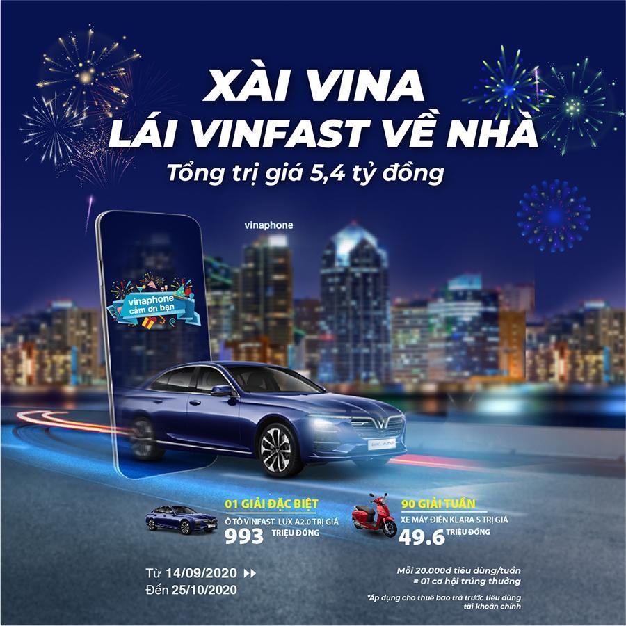 Xài mạng VinaPhone, trúng xe VinFast Lux A2.0 và Klara S