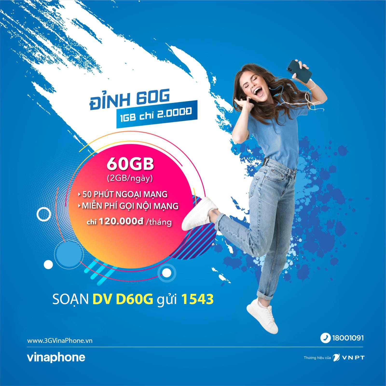 Tổng hợp các gói cước Đỉnh Vinaphone (60G, 30G,15G) ưu đãi 60GB, 30GB, 15GB