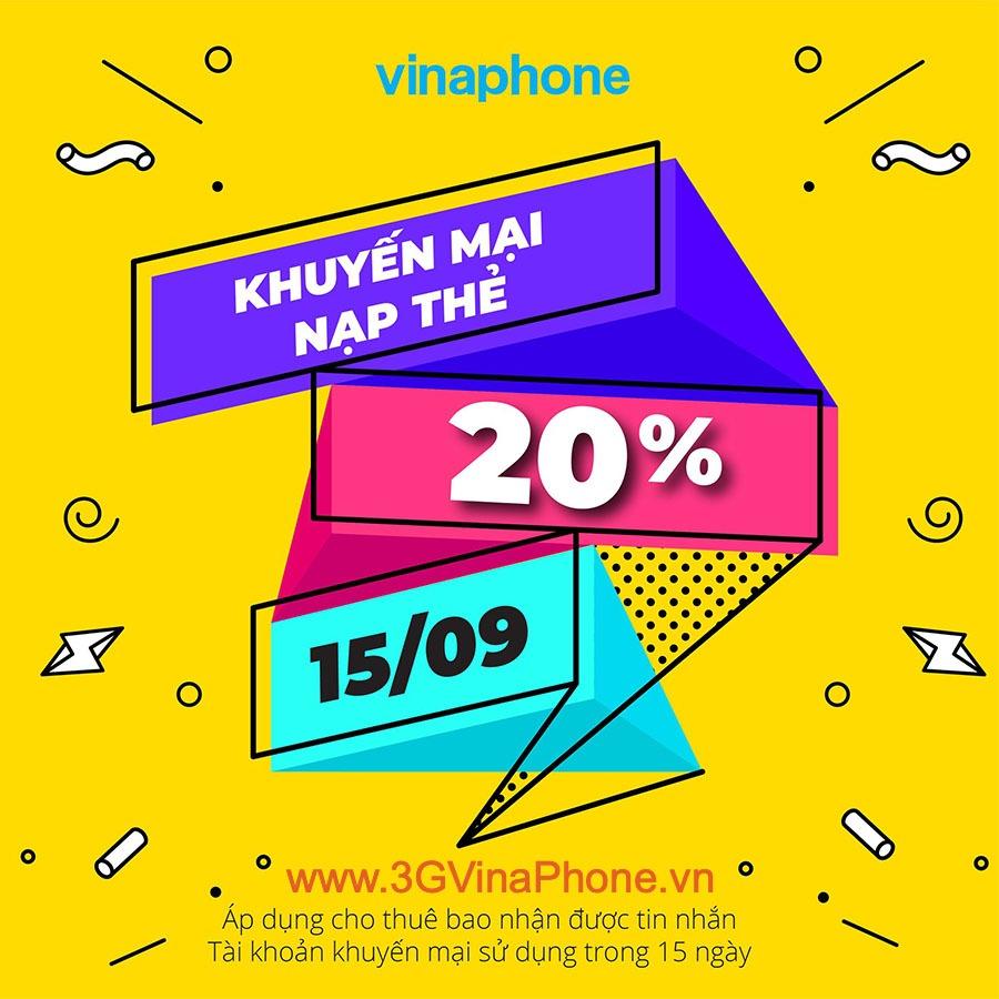 Vinaphone khuyến mãi nạp thẻ ngày 15/9/2020 tặng 20% giá trị thẻ nạp