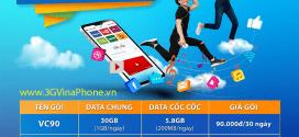 Đăng ký gói cước VC90 Vinaphone có 36GB data chỉ 90.000đ trọn gói