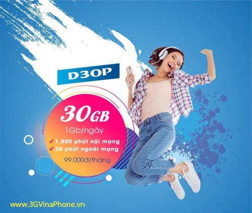 ưĐăng ký gói D30P Vinaphone chỉ 99.000đ có 30GB + gọi thoải mái