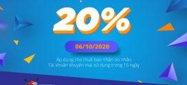 Vinaphone khuyến mãi nạp thẻ ngày 6/10/2020 tặng 20% giá trị thẻ nạp