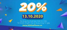 Khuyến mãi Vinaphone ngày 13/10/2020 tặng 20% giá trị thẻ nạp