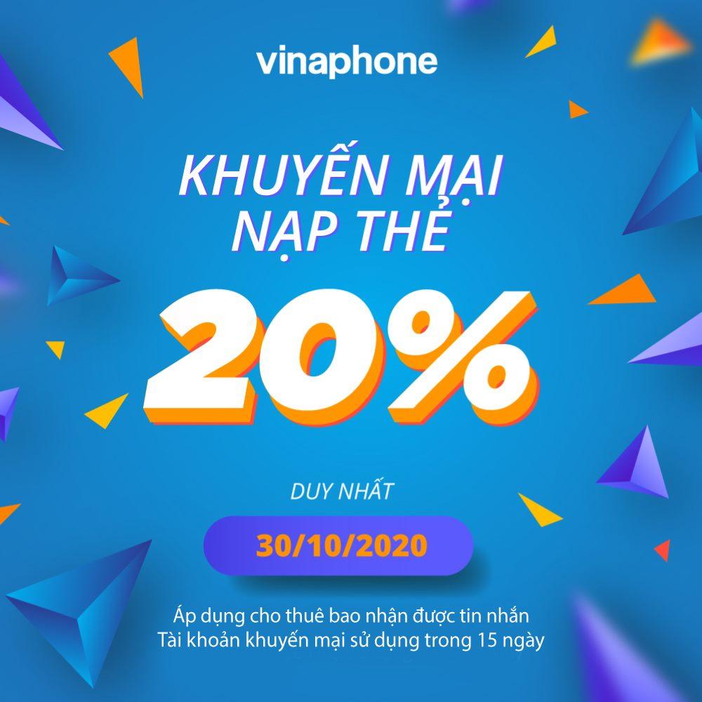 Vinaphone khuyến mãi ngày 30/10/2020 tặng 20% giá trị thẻ nạp