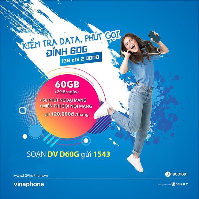 Cách kiểm tra ưu đãi phút gọi, data của gói D60G VinaPhone