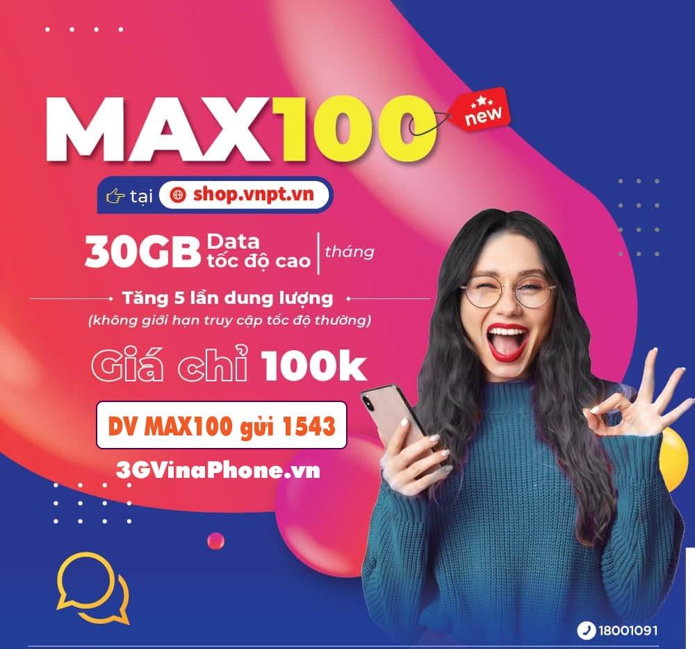 Cách đăng ký gói cước Max100 vinaphone có 30GB data