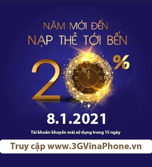 Vinaphone khuyến mãi ngày vàng 8/1/2021 tặng 20% giá trị thẻ nạp