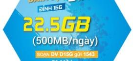 Đăng ký gói cước D15G Vinaphone nhận 22.5GB data chỉ 70.000đ / tháng