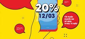 Khuyến mãi VinaPhone ngày vàng 12/3/2021 tặng 20% giá trị thẻ nạp