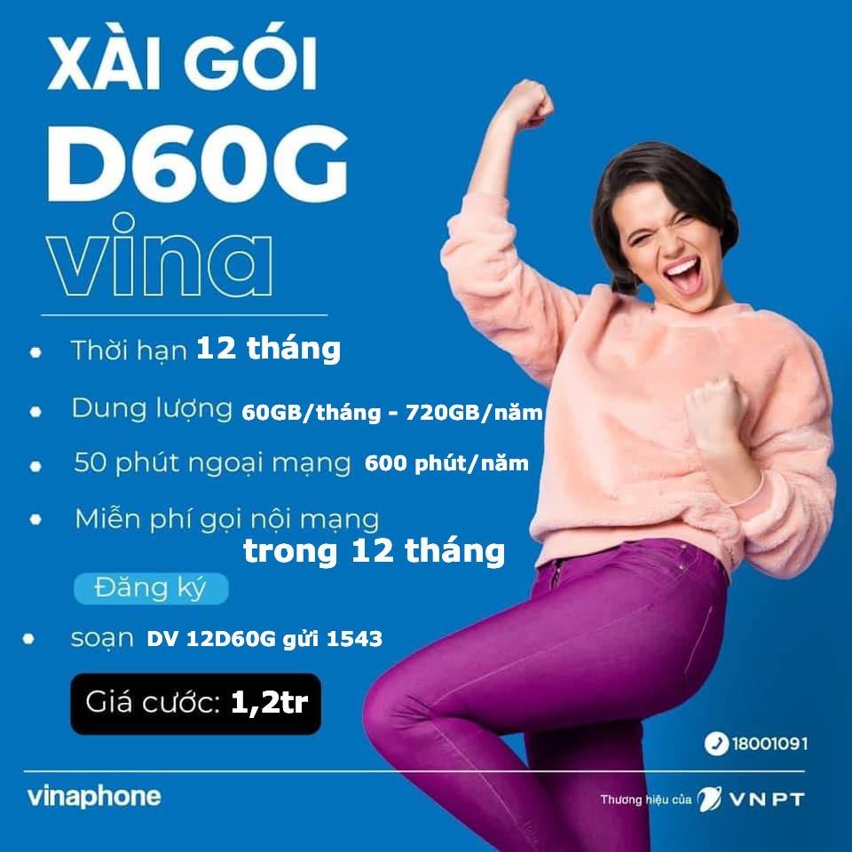 Đăng ký gói cước 12D60G Vinaphone - Gói D60G 12 tháng nhận 2GB/ngày suốt 1 năm