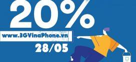 Khuyến mãi Vinaphone ngày vàng 28/5/2021 tặng 20% giá trị thẻ nạp