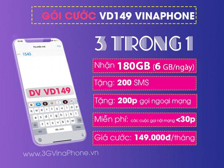 Đăng ký gói cước VD149 Vinaphone nhận 180GB + gọi Không Giới Hạn