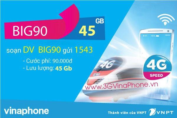 Đăng ký gói cước BIG90 của Vinaphone giá rẻ