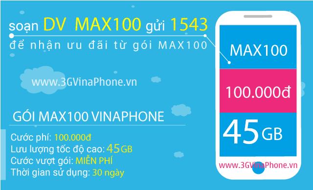 Đăng ký gói MAX100 Vinaphone nhận 45GB data chỉ 100.000đ