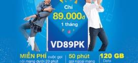 Đăng ký gói VD89PK vinaphone có 120GB data và Miễn Phí gọi thả ga