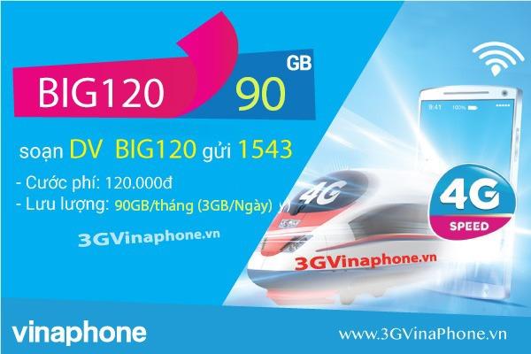 Cách đăng ký gói BIG120 VinaPhone nhận 90GB data 3G/4G/5G chỉ 120.000đ