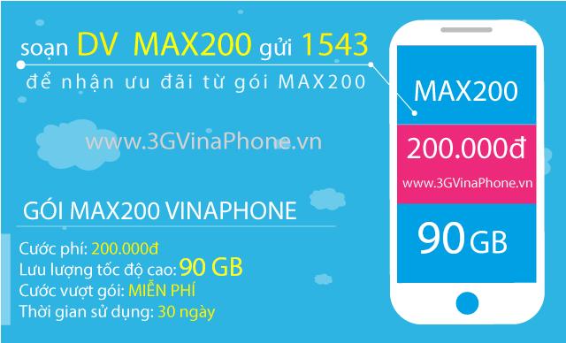 Cách đăng ký gói MAX200 Vinaphone nhận 90 GB data chỉ 200.000đ