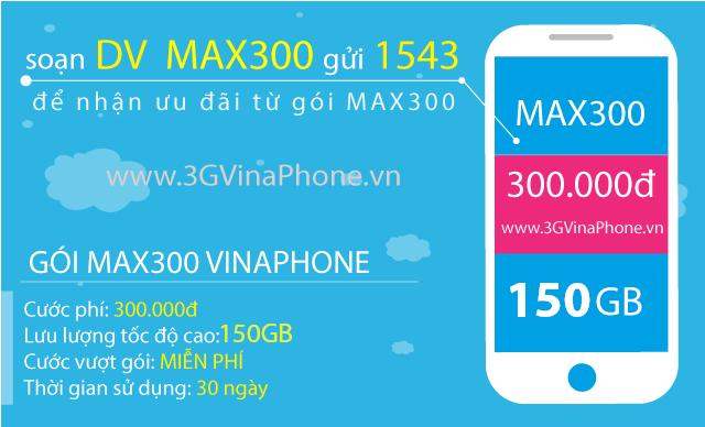 Đăng ký gói MAX300 Vinaphone nhận 150GB data 3G/4G/5G chỉ 300.000đ